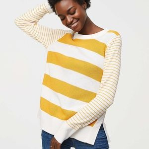 Loft mustard mixed stripe crew sweater small